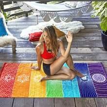 Настенное одеяло с радужной мандалой гобелен кисточками полоса