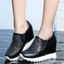 Tennis Shoes Womens Genuine Leather Platform Wedge High Heel Pumps Bling bling Glitters Round Toe Fashion Sneakers Casual