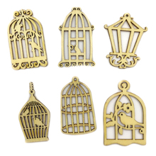 Free Shipping 100pcs Wooden Veneer Shape Vintage Mix Style Wood Birdcage Woodchips Scrapbooking Embellishment DIY Craft