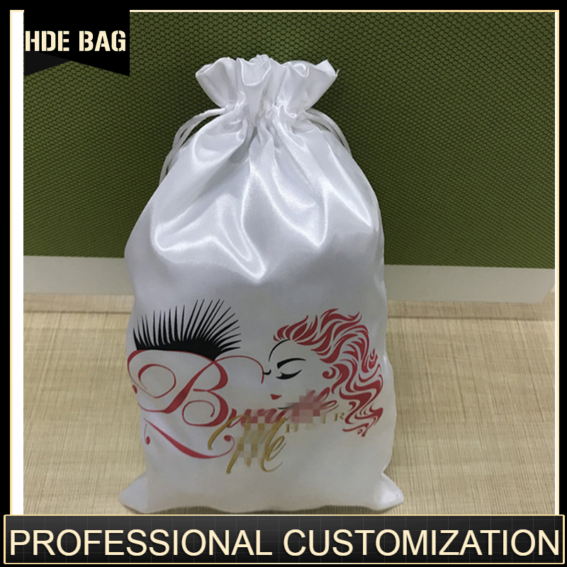Custom Logo Satin Hair Bundle Wigs Drawstring Bags Luxlury Products Packaging Bag Silk Pouch Dustproof Cover Storage Pouch