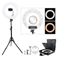 Fosoto 18 אינץ תאורת צילום 100W Led טבעת אור וידאו טבעת מנורת עם מראה Ringlight עבור טלפון מצלמה Youtube איפור