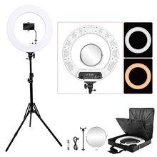 Fosoto 18 inç fotoğraf aydınlatma 100W Led halka ışık Video halka lamba ayna ile halka ışık telefon kamera için Youtube makyaj