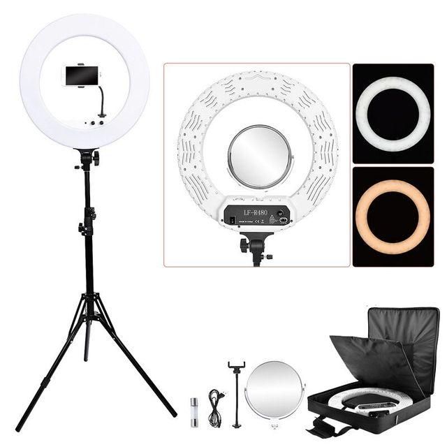 Fosoto 18 polegada iluminação fotográfica 100w led anel de luz de vídeo lâmpada com espelho ringlight para câmera do telefone youtube maquiagem