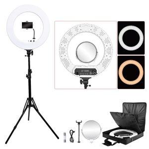 Image 1 - Fosoto 18 pouces éclairage photographique 100W Led anneau lumière vidéo anneau lampe avec miroir Ringlight pour téléphone caméra Youtube maquillage