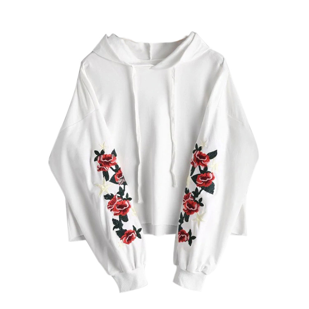 JAYCOSIN Fashion Women Floral Embroidered Patch Drawstring Sweatshirt Casual Simple Solid Color Comfortable Soft Blouse Tops