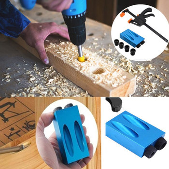 6/8/10mm Pocket Hole Jig Kit Woodworking Angle Drill Guide Set Hole Puncher Jig Drill Bit Set Locator For DIY Carpentry Tools