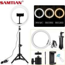 Samtian Lámpara de anillo de 12 pulgadas con trípode, luz LED, enchufe USB, bluetooth, anillo de selfie para youtube, maquillaje, anillo con foto