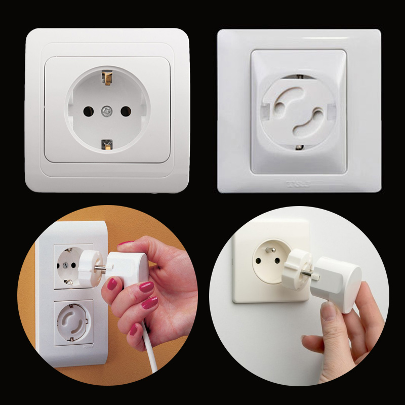 10Pcs Children Electrical Outlets Baby Safety Rotate Cover 2 Hole Round European Standard Child Socket Plastic Security Locks