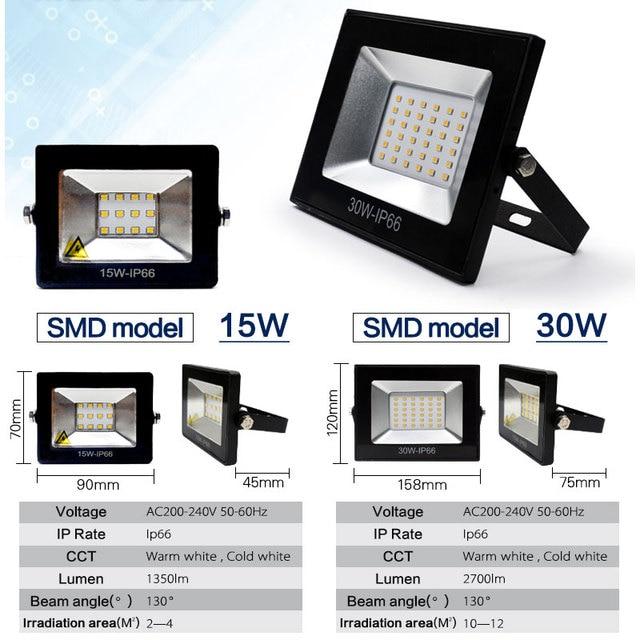 220V éclairage LED 15W 30W réflecteur LED projecteur étanche IP66 IP65 projecteur mur éclairage extérieur chaud blanc froid