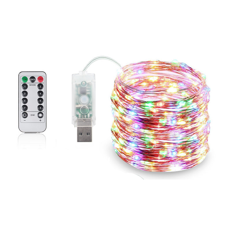 8 Mode Remote Control Dimmable USB Powered 5M 10M 15M 20M LED Copper Wire String Lights Decor Christmas Fairy Garlands Light