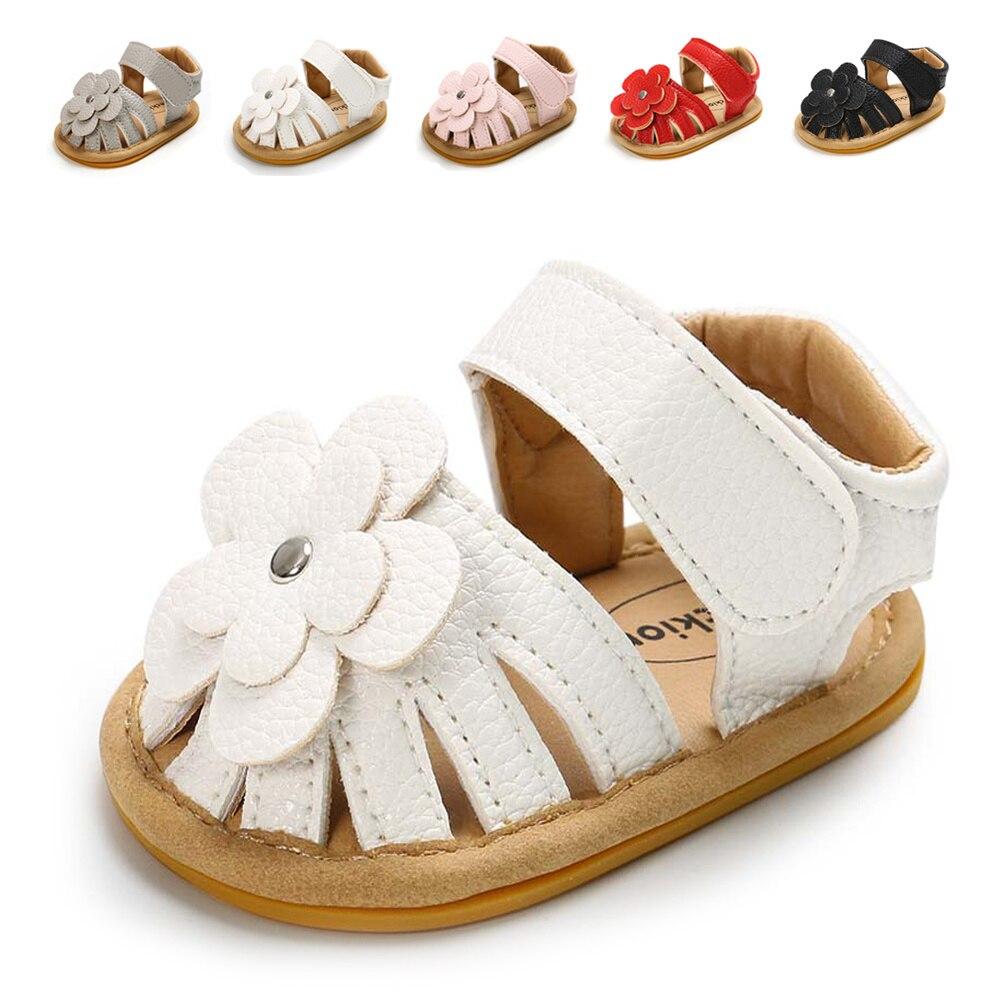 Infant Baby Shoes Girl Toddler Flats Sandal Soft Rubber Sole Anti-Slip Summer Flower PU Crib Shoes Newborn First Walker