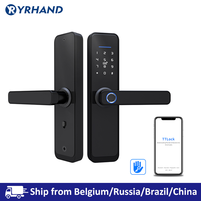 TT Lock App WiFi Smart Fingerprint Door Lock, Electronic Door Lock,Smart Bluetooth Digital APP Keypad Code Keyless Door Lock