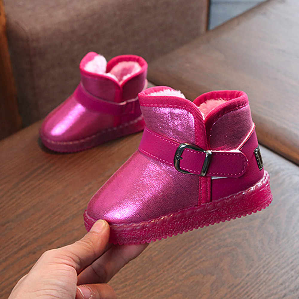Children Kids Shoes Baby LED Light Up Luminous Sneakers Winter Warm Snow Boot