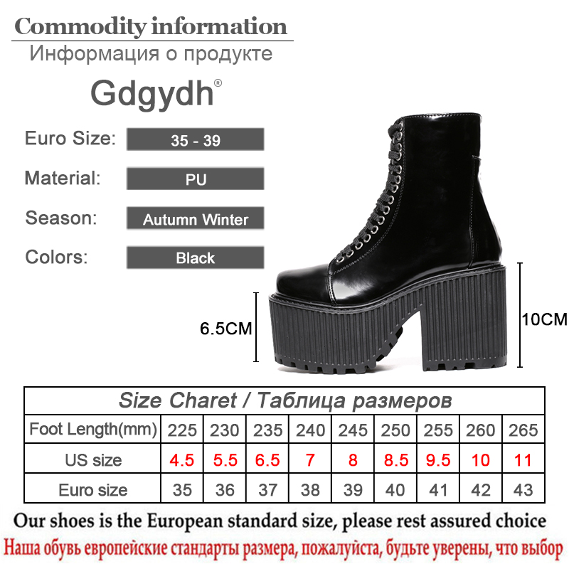 Image 5 - Gdgydh Fashion Ankle Boots For Women Platform Shoes Punk Gothic Style Rubber Sole Lace Up Black Spring Autumn Chunky Boots Woman-in Ankle Boots from Shoes