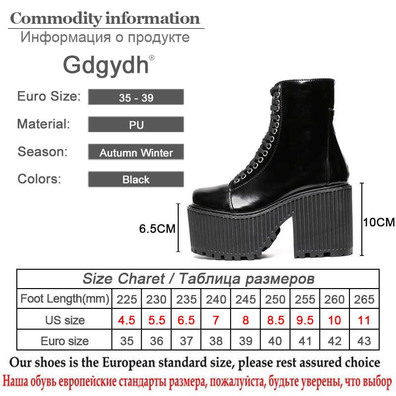 Gdgydh Mode Enkellaars Voor Vrouwen Platform Schoenen Punk Gothic Stijl Rubberen Zool Lace Up Zwarte Lente Herfst Chunky Laarzen vrouw