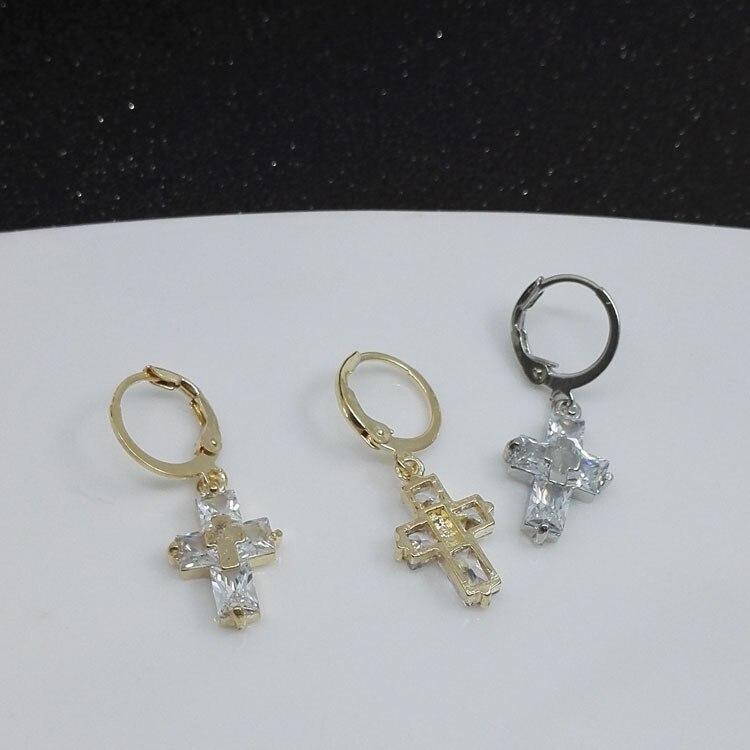 Women's Fashion Crystal Cross Dangle Drop Earrings Charming Gold Plated Zircon Earrings Punk Hip Hop Jewelry for Female Gifts
