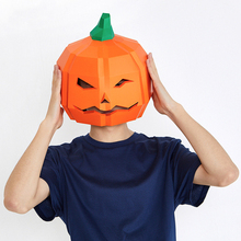Paper DIY Pumpkin Model Halloween Mask material manual creative Head Party Masquerade show props lovely hand made Gift