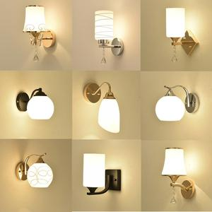 Wall lamp wall light bedroom modern Simplicity living room Creativity Glass lampshade Nordic style Lamp holder Bedside lamp(China)