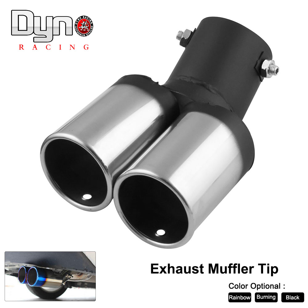 "61mm//2.4/"" Chrome Stainless Steel Car Rear Dual Exhaust Pipe Tail Muffler Tip"