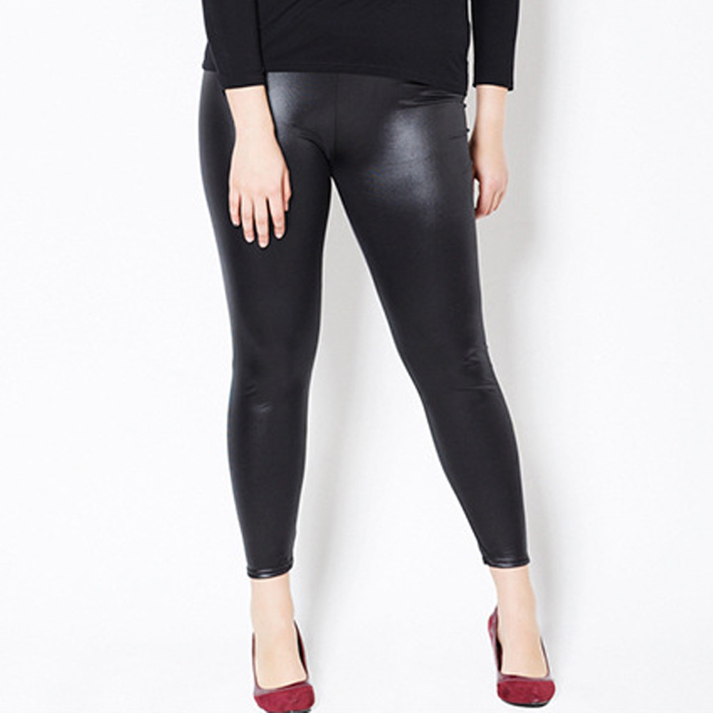 Stylish Women Sexy Leather Pants Plus Size Tight Breathable Long Pant Female Autumn High Waist Slim Fit Casual Stretchy Trousers