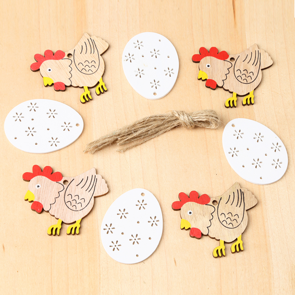 8 Pcs/Pack Easter Hanging Decoration Rabbit Egg Wooden Ornament Crafts Tags Decorative Tree Hanging Pendants Easter Decorations