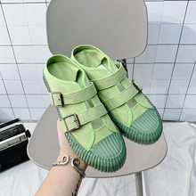 Summer Shoes For Women Sneakers Casual Metal buckle Canvas Shoes Flat Loafers Shoes Board Shoes New Student Teens Girls Footwear(China)