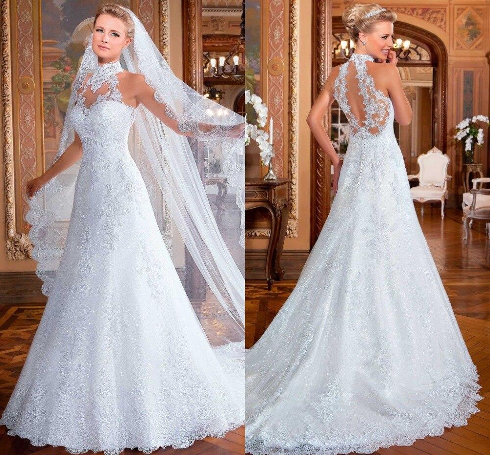 Custom Made Vestidos De Noiva Hi-neck Bridal Gowns A-line Lace Wedding Dresses 2015 With Chapel Train Wedding Dress VERNASSA
