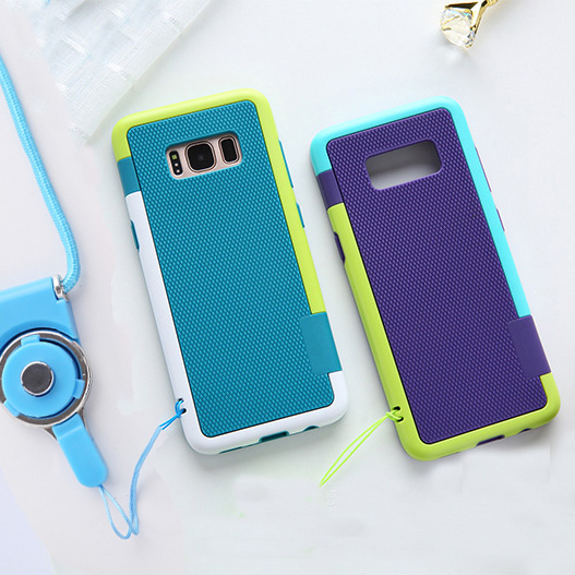 sam S10 Zenus Walnutt Color Shock Silicone+ PC Shockproof Cover <font><b>Case</b></font> For <font><b>samsung</b></font> Galaxy S10 S9 S8 plus <font><b>note8</b></font> note 9 + strap image