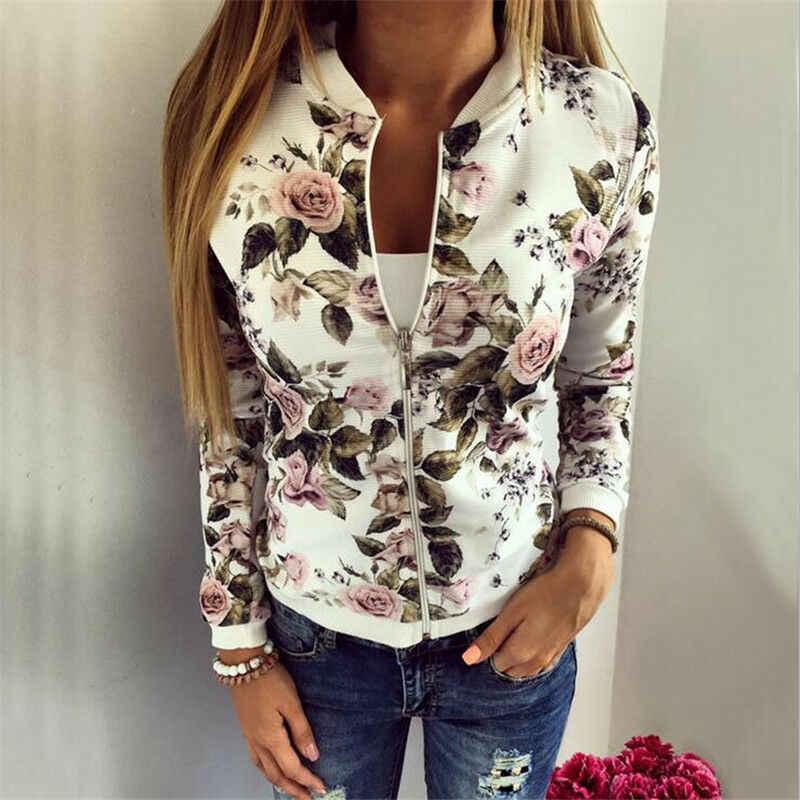 2019 kobiet kurtki marki topy kwiat drukuj dziewczyna Plus rozmiar na co dzień bluza przycisk cienkie Bomber długie rękawy płaszcz kurtki Hot sprzedaży