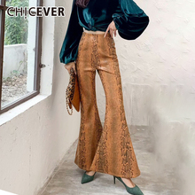 CHICEVER Print PU Leather Flare Pants For Women High Waist Large Sizes Women's Trousers Spring Vintage Fashion 2021 New