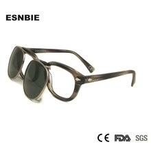 Gepolariseerde Clip Op Zonnebril Mannen Ronde Brillen Frame Acetaat Snap Op Verwisselbare Lens Vintage Shades Brand Design Oculos De Sol