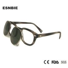 Polarize güneş gözlüğü üzerinde klip erkekler yuvarlak gözlük çerçevesi asetat yapış On çıkarılabilir Lens Vintage Shades marka tasarım óculos De Sol