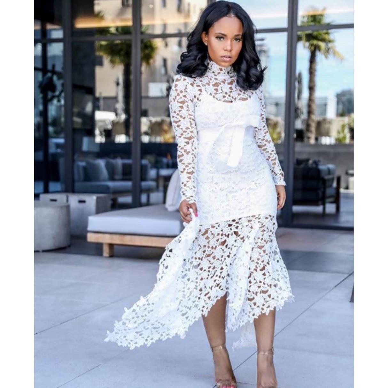 2019 Elegant Women Bodycon Dress Sexy Hollow Lace Mesh Maxi Patchwork Party