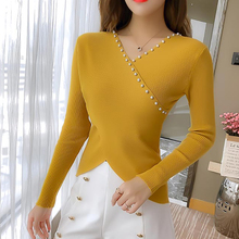 shintimes Beading Women Sweater Cross V-Neck Sueter Mujer Invierno 2019 Fall Woman Clothes Sweters Korean Pullover Pull Femme