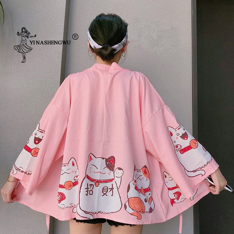 Japan Cat Print Kimono New Cardigan Female Loose Shirt Tops Casual Kimonos Coat Yukata Women Kimonos Harajuku Asian Clothing