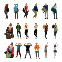 1:64 Diorama Sports Woman Man Figure People Doll for  Accessories