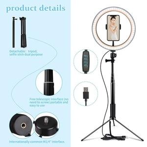 Image 4 - 10 Inchs Photography LED Light Tripod Ring Lamp Stand Set Outube Video Live 3300 5500k Photo Studio Selfie Stick Ring Light