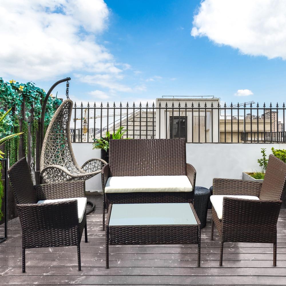 (UNS) terrasse Möbel Set 4 Pcs Outdoor Rattan Stuhl Wicker Sofa Garten Bistro Sets Hof Hinterhof Tisch Silk Gehärtetem Glas