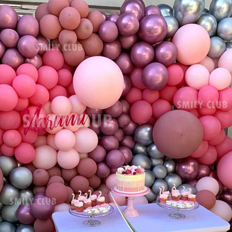12pcs10inch DIY Retro Dusty Pink Balloon Garland Arch Kit Rose Gold White Balloons for Birthday Baby Shower Weddings Party Decor