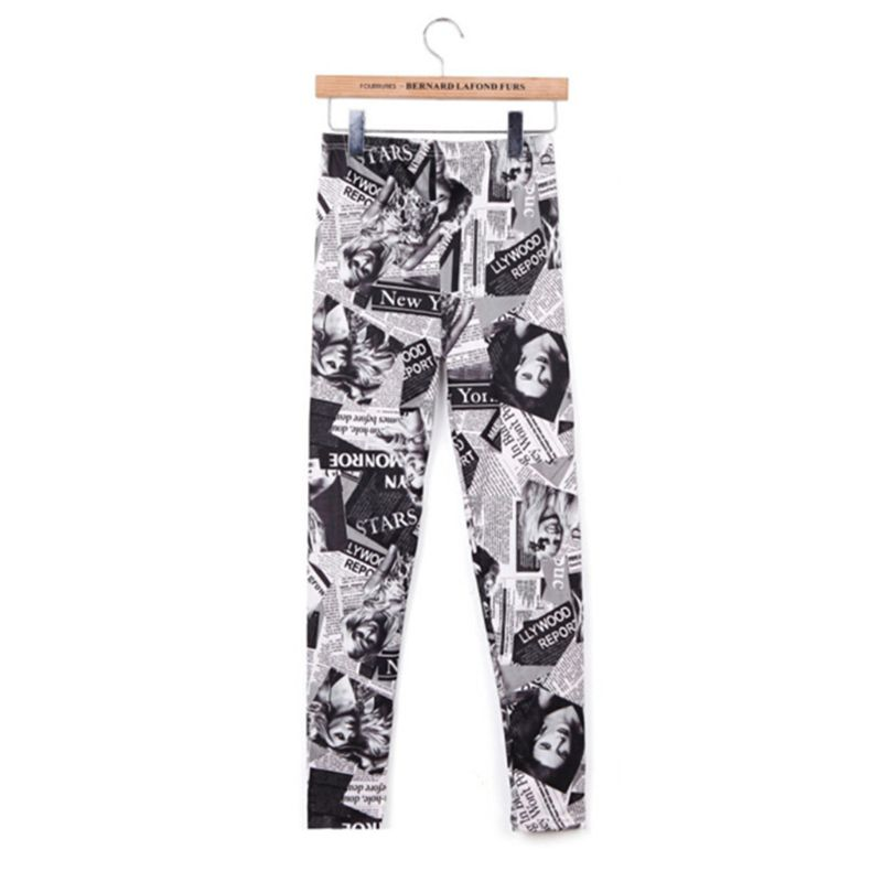 Womens Classic Retro Newspaper Beautiful Women Printed Casual Ankle Length Elastic Tights Workout Party Slim Pants