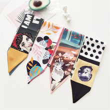 New Multifunction Bag Ribbons Brand  Small Silk Scarf For Women Double-sided Print Head Scarf Handle Bag Ribbon Scarves MS2