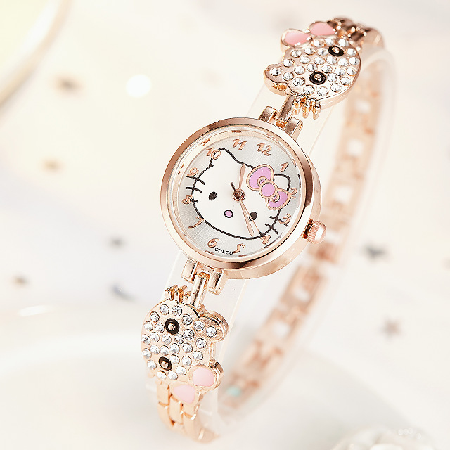 Girls Watches Hello Kitty Women Watch Kids Children Luxury Rose Gold Rhinestone Quartz Wristwatches Clock Zegarek Dla Dzieci