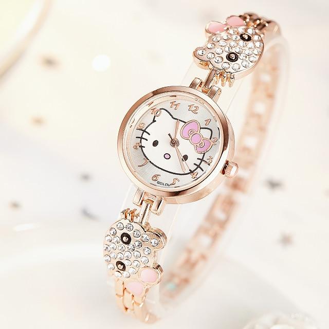 Girls Watches Hello Kitty Women Watch Kids Children Luxury Rose Gold Rhinestone Quartz Wristwatches Clock Zegarek Dla Dzieci