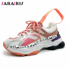 SARAIRIS New INS Hot Sale Sweet Girl Shining Platform Sneakers Women 2019 Autumn Casual Breathable Leopard Dad Shoes Woman