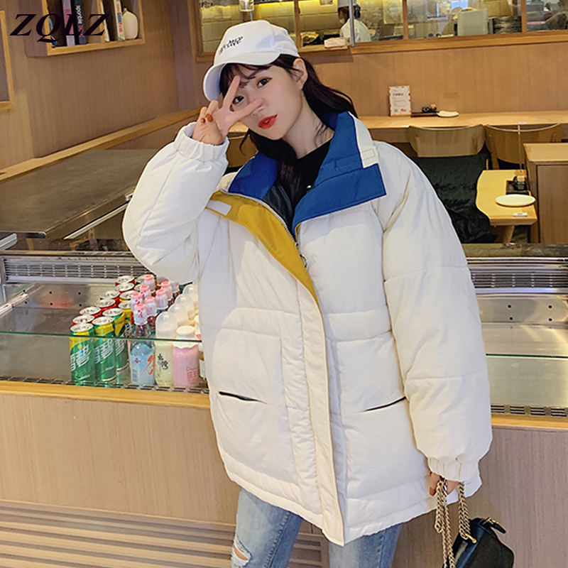 Zqlz Oversized Winter Jacket Women Thick Warm Hooded Coat Female Loose Casual Padded Short Jackets Outwear   Parka   Mujer 2019