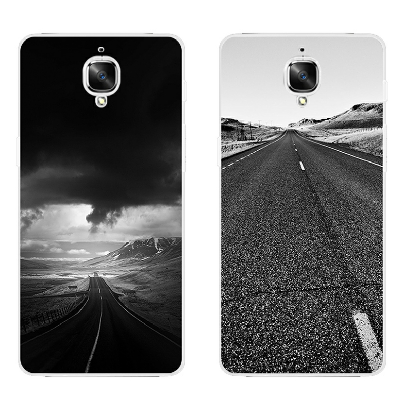 For OnePlus 2 Phone Case One Plus 3 Shell Smartphone 5.5 Inch Ultra Slim Transparent Cover Soft Silicon Ash Road Pattern Skin image