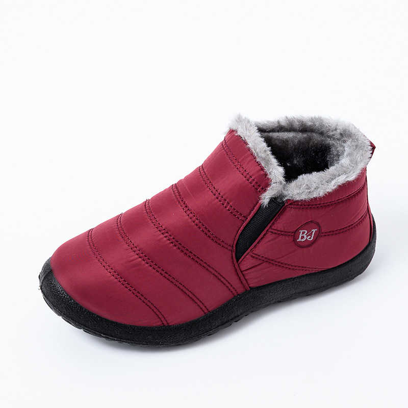 Kadın kar çizmeler kadın ayakkabıları sıcak peluş kürk yarım çizmeler kış kadın üzerinde kayma düz rahat ayakkabılar su geçirmez Ultralight ayakkabı