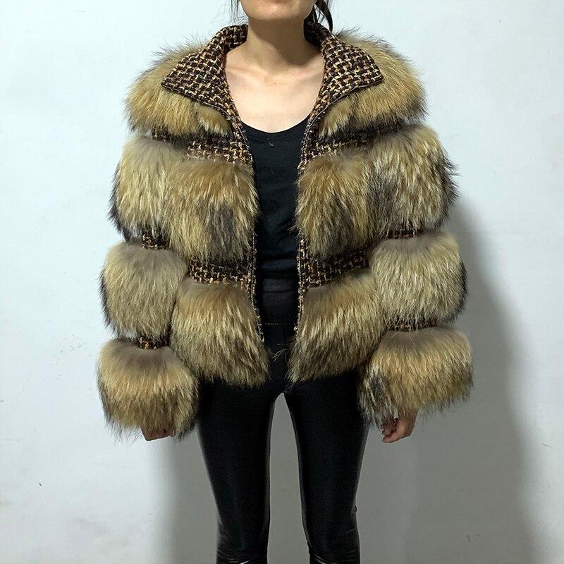 Rf1930B Fashion Full Pelt Zipper Long Sleeve Winter Real Fur Jacket Natural Raccoon Fur Striped Coat Women