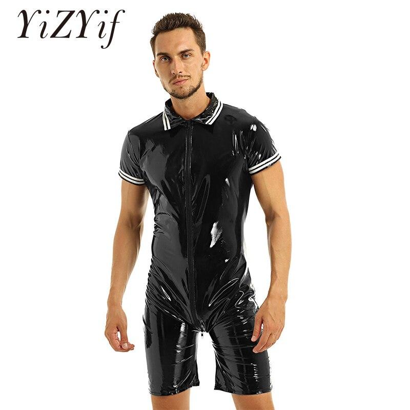 Sexy Latex Lingerie Bodysuit For Men One-piece Wet Look Patent Leather Front Zipper Boxer Briefs Leotard Bodysuit Nightwear