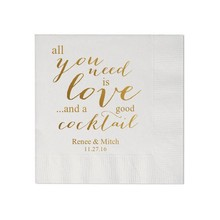 Paper-Napkins Cocktail-Luncheon Love Text Guest Custom Beverage Need Avail Printed All-You